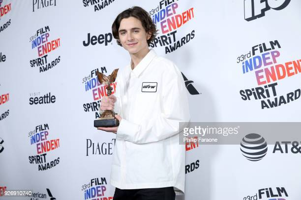 Actor Timothee Chalamet winner of Best Male Lead for 'Call Me by Your Name' poses in the press room during the 2018 Film Independent Spirit Awards on...