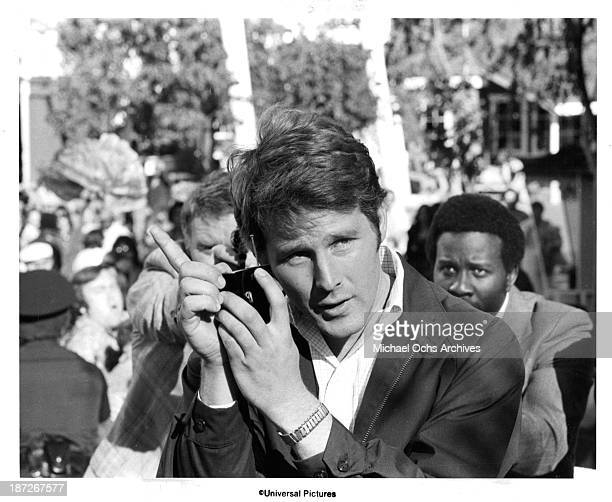 """Actor Timothy Bottoms on set of the Universal Pictures movie""""Rollercoaster"""" in 1977."""