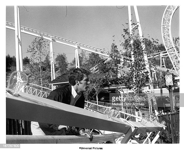 Actor Timothy Bottoms on set the Universal Pictures movie Rollercoaster in 1977