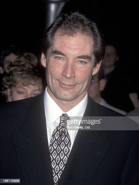 Actor Timothy Dalton attends 'The Beautician and the Beast' Hollywood Premiere on February 3 1997 at Paramount Theater in Hollywood California