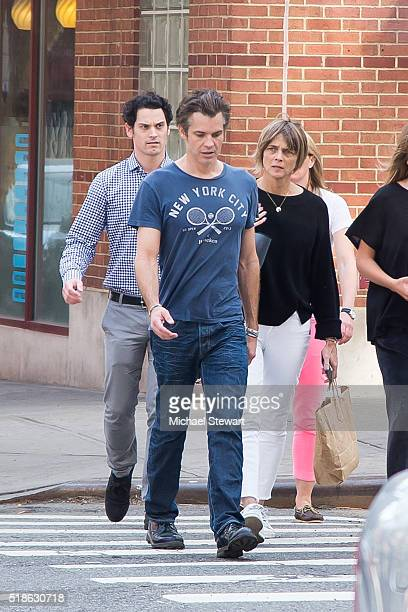 Actor Timothy Olyphant Alexis Knief and Grace Olyphant are seen walking in SoHo on April 1 2016 in New York City