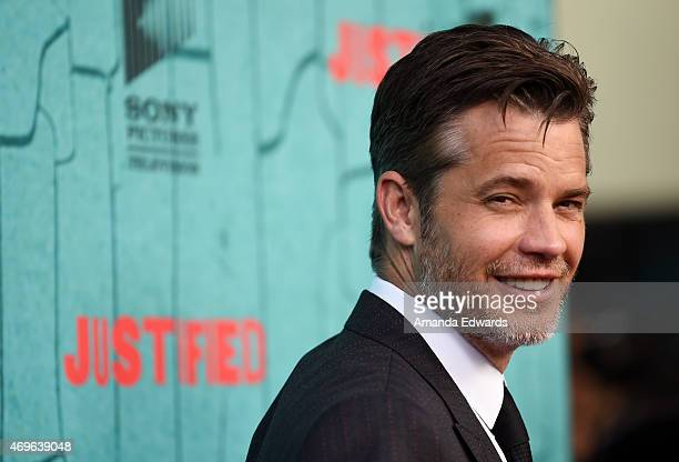Actor Timothy Olyphant arrives at FX's Justified series finale premiere at the Montalban Theater on April 13 2015 in Hollywood California