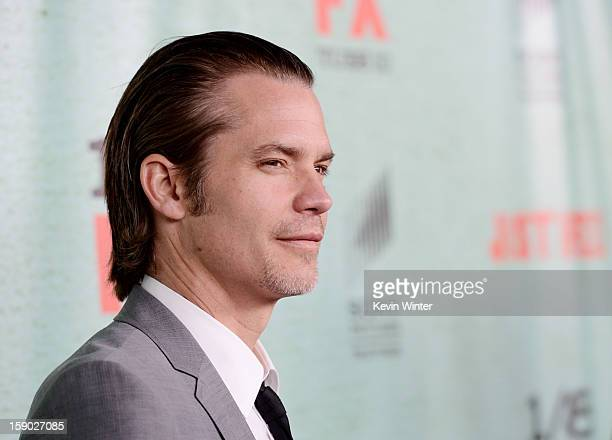 Actor Timothy Olyphant arrives at the premiere of FX's 'Justified' Season 4 at Paramount Studios on January 5 2013 in Los Angeles California