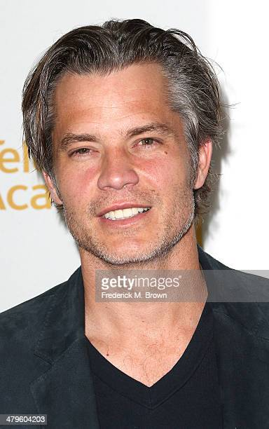 Actor Timothy Olyphant attends The Television Academy Presents an Evening with Justified at the Leonard H Goldenson Theatre on March 19 2014 in...