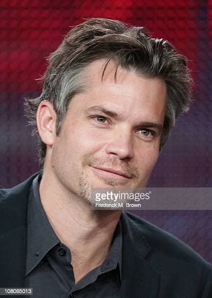 Actor Timothy Olyphant speaks during the FX portion of the 2011 Winter Television Critics Association Press Tour at The Langham Huntington Hotel on...