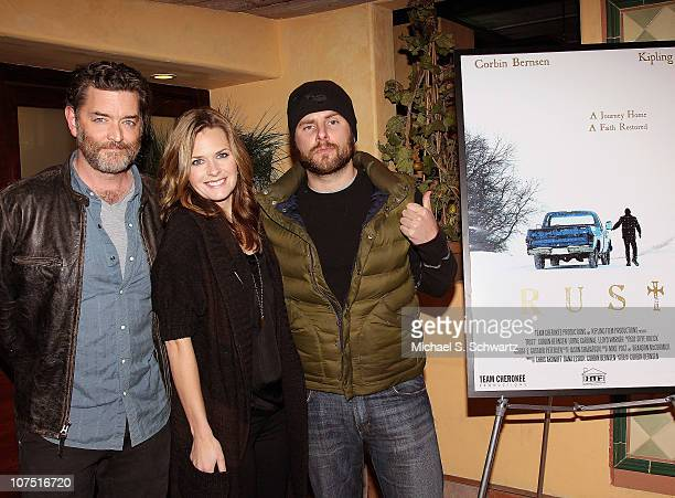 Actor Timothy Omundson actress Maggie Lawson and actor James Roday attend the screening of Rust at Raleigh Studios on December 9 2010 in Los Angeles...