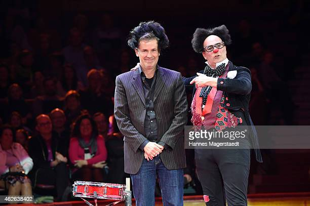 Actor Timothy Peach and clown Pepe performs during the 'Wunderwelt der Manege' Circus Krone Premiere on February 1 2015 in Munich Germany
