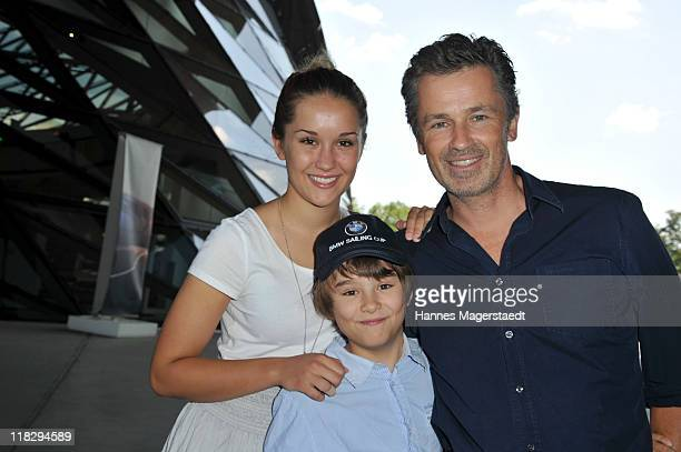 Actor Timothy Peach and his kids Tiffany and Nelson attend the Public Viewing Of Host City Election For The XXIII Olympic Winter Games 2018 At BMW...