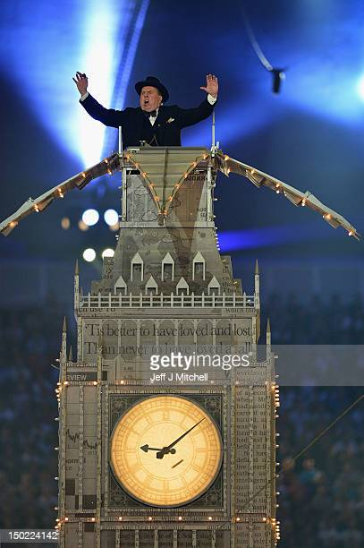 Actor Timothy Spall plays the part of Winston Churchill during the Closing Ceremony on Day 16 of the London 2012 Olympic Games at Olympic Stadium on...
