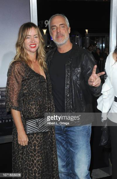 Actor Titus Welliver and Jose Stemkens arrive for the Warner Bros Pictures World Premiere Of The Mule held at Regency Village Theatre on December 10...