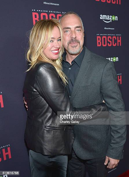 Actor Titus Welliver and Jose Stemkens attend Amazon Red Carpet Premiere Screening For Season Two Of Original Drama Series 'Bosch' on March 3 2016 in...