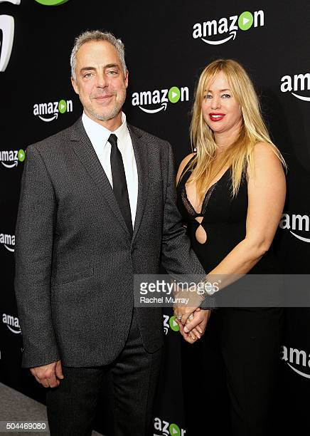 Actor Titus Welliver and model Jose Stemkens attend Amazon's Golden Globe Awards Celebration at The Beverly Hilton Hotel on January 10 2016 in...