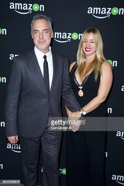 Actor Titus Welliver and model Jose Stemkens attend Amazons Studios Golden Globe Awards at The Beverly Hilton Hotel on January 10 2016 in Beverly...