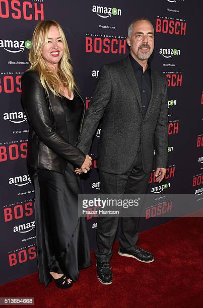 Actor Titus Welliver and wife Jose Stemkens arrrive at the Premiere Of Amazon's Bosch Season 2 at SilverScreen Theater at the Pacific Design Center...