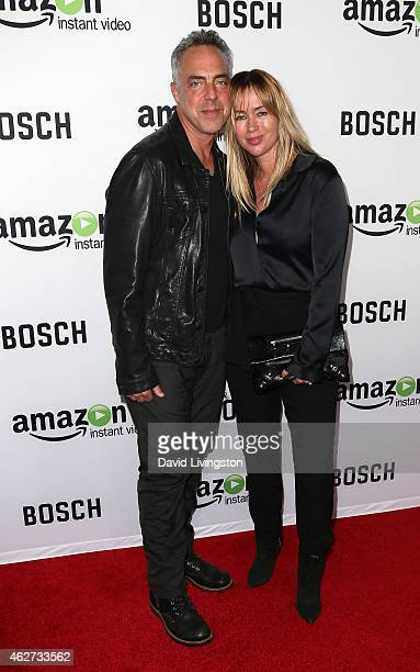 Actor Titus Welliver and wife Jose Stemkens attend a screening of Amazon's 1st original drama series Bosch at The Dome at Arclight Hollywood on...