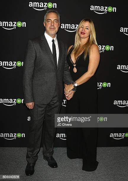 Actor Titus Welliver and wife Jose Stemkens attend Amazon Studios Golden Globes Party at The Beverly Hilton Hotel on January 10 2016 in Beverly Hills...
