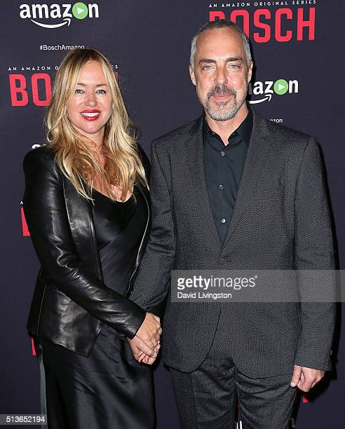 Actor Titus Welliver and wife Jose Stemkens attend the premiere of Amazon's Bosch Season 2 at SilverScreen Theater at the Pacific Design Center on...