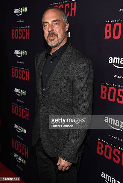 Actor Titus Welliver arrrives at the Premiere Of Amazon's 'Bosch' Season 2 at SilverScreen Theater at the Pacific Design Center on March 3 2016 in...