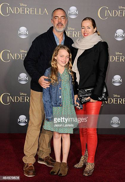 Actor Titus Welliver wife Jose Stemkens and daughter attend the premiere of Cinderella at the El Capitan Theatre on March 1 2015 in Hollywood...