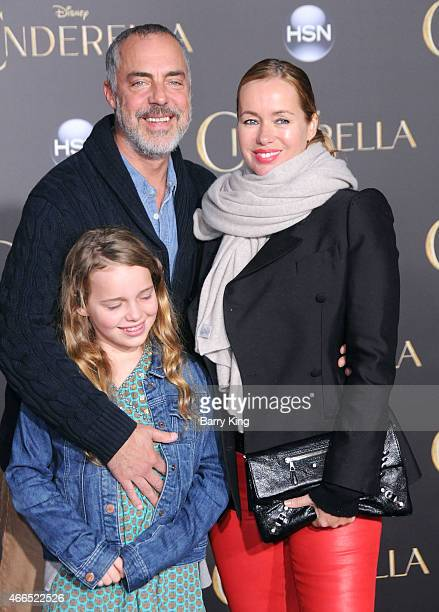 Actor Titus Welliver wife Jose Stemkens and daughter attend the premiere of 'Cinderella' at the El Capitan Theatre on March 1 2015 in Hollywood...