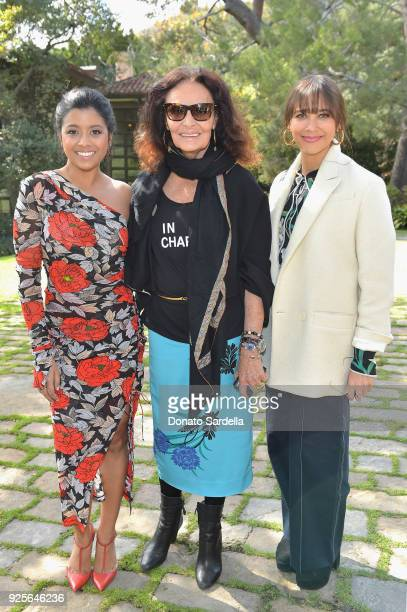 Actor Tiya Sircar, host Diane von Furstenberg and actor Rashida Jones attend the DVF Oscar Luncheon Honoring The Female Nominees Of The 90th Academy...