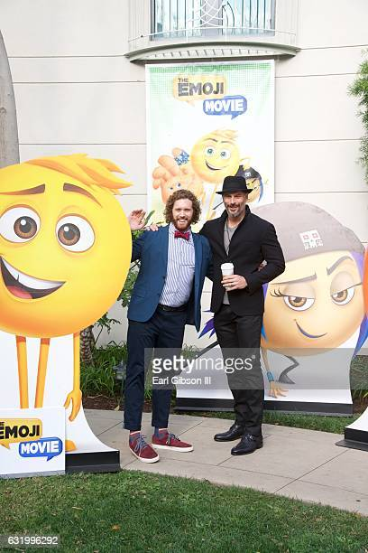 Actor TJ Miller and Actor Joe Manganiello pose for a photo at Sony Pictures Studios on January 18 2017 in Culver City California