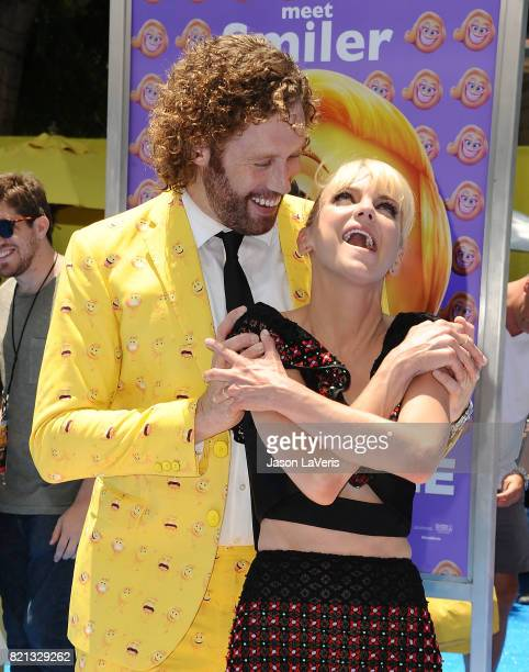 Actor TJ Miller and actress Anna Faris attend the premiere of 'The Emoji Movie' at Regency Village Theatre on July 23 2017 in Westwood California