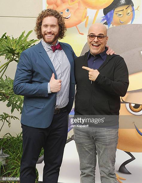 Actor TJ Miller and director Tony Leondis pose at the Photo Call For Columbia Pictures' 'The Emoji Movie' at Sony Pictures Studios on January 18 2017...