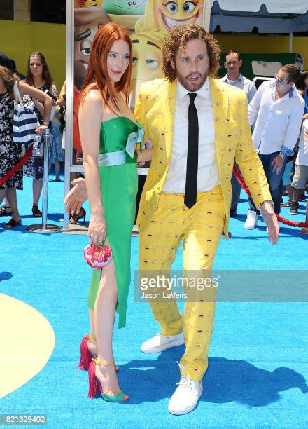 Actor TJ Miller and wife Kate Gorney attend the premiere of 'The Emoji Movie' at Regency Village Theatre on July 23 2017 in Westwood California