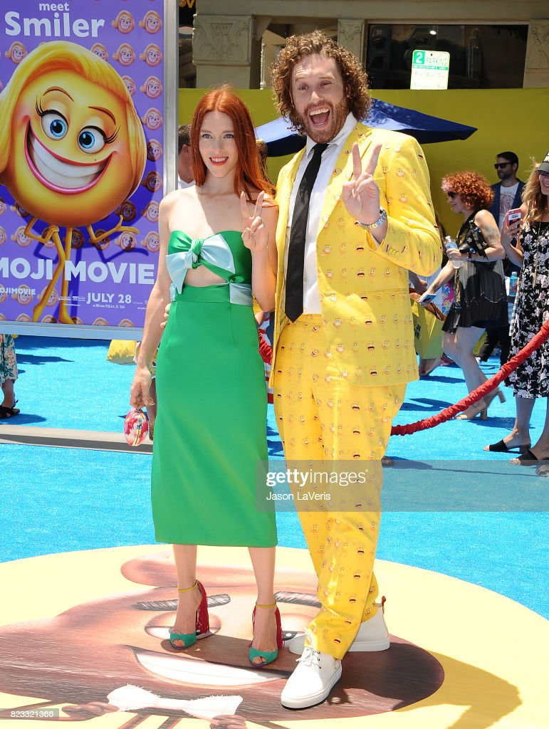 Actor T.J. Miller and wife Kate Gorney attend the premiere of 'The Emoji Movie' at Regency Village Theatre on July 23, 2017 in Westwood, California.