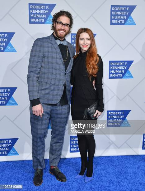 US actor TJ Miller and wife Kate Miller attend the 2018 Robert F Kennedy Human Rights' Ripple Of Hope Awards at New York Hilton Midtown on December...