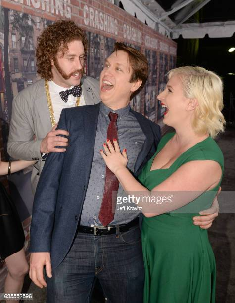 Actor TJ Miller Creator/Executive Producer Pete Holmes and Valerie Chaney attend HBO's Crashing premiere and after party on February 15 2017 in Los...