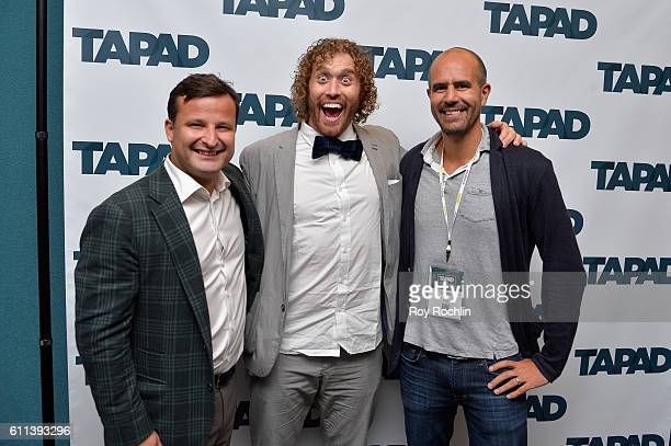 Actor TJ Miller poses with Liodden Dag after the Unify Tech'16 Tapad's version of Bachmanity panel at Nasdaq MarketSite during 2016 Advertising Week...