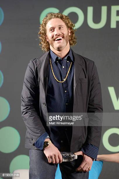 Actor TJ Miller speaks onstage during the Stars of Office Christmas Party panel at Entertainment Weekly's PopFest at The Reef on October 30 2016 in...