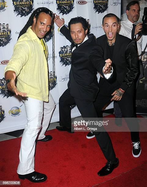 Actor TJ Storm actor/fighter Sam Medina and actor fighter Luis Da Silva Jrarrive for the Premiere Of RLJ Entertainment's Kickboxer Vengeance held at...