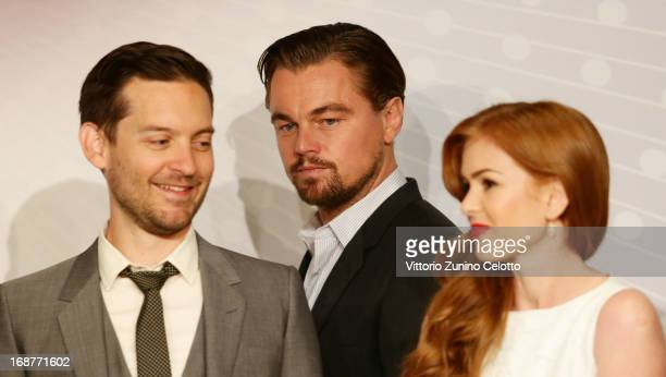 Actor Tobey Maguire actor Leonardo DiCaprio and actress Isla Fisher attend the 'The Great Gatsby' Press Conference during the 66th Annual Cannes Film...