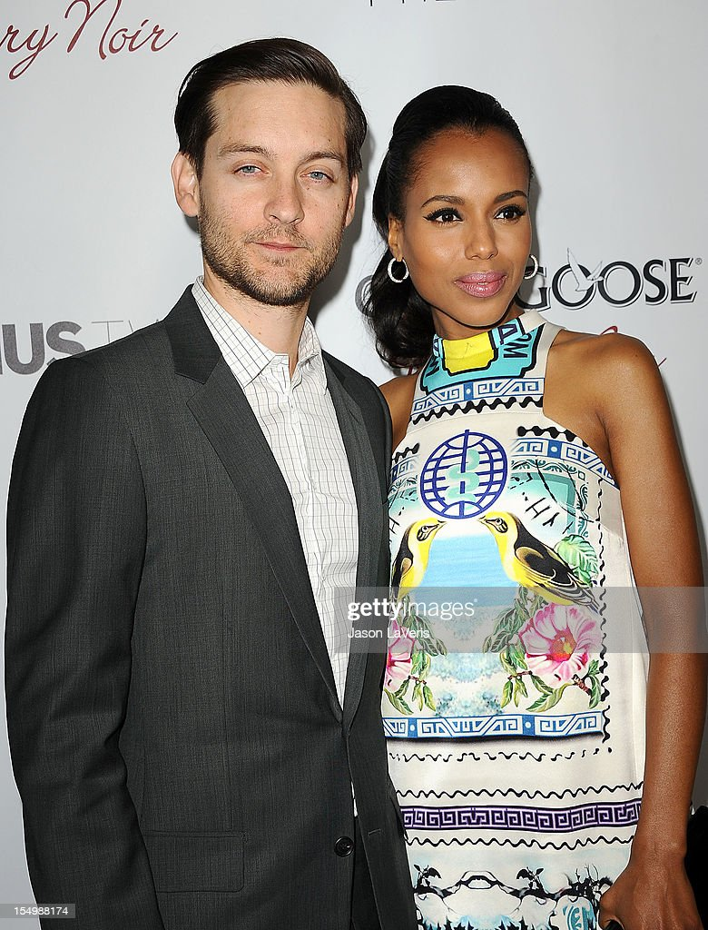 Actor Tobey Maguire and actress Kerry Washington attend the premiere of 'The Details' at ArcLight Cinemas on October 29, 2012 in Hollywood, California.
