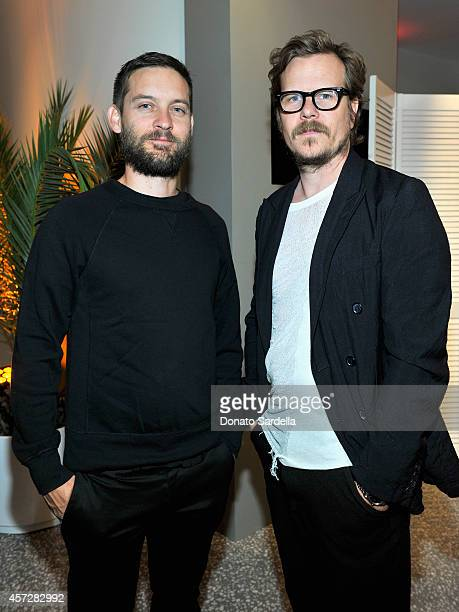 Actor Tobey Maguire and producer Steven Johnson attend a private dinner hosted by Mark Lee and Barneys New York for HOLA Heart of Los Angeles at...