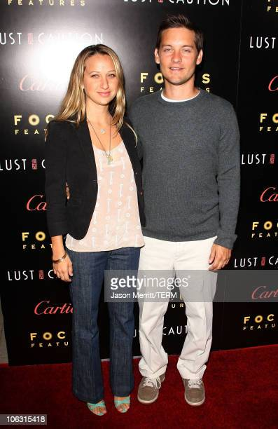 Actor Tobey Maguire and wife Jennifer Meyer arrive at the Los Angeles Premiere of Lust Caution presented by Focus Features at the Academy of Motion...