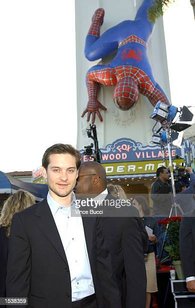 Actor Tobey Maguire arrives for the premiere of his new film SpiderMan April 29 2002 in Los Angeles CA