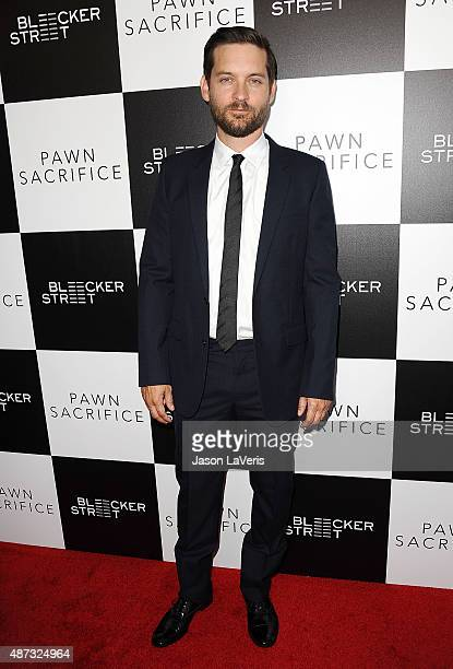 Actor Tobey Maguire attends the premiere of 'Pawn Sacrifice' at Harmony Gold Theatre on September 8 2015 in Los Angeles California