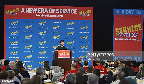 Actor Tobey Maguire speaks at the Entertainment Industry Foundation and ServiceNation's A New Era of Service MLK Day breakfast at Ballou Senior High...