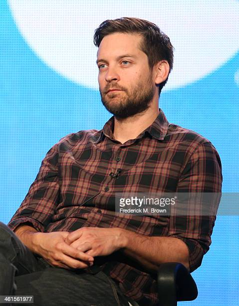 Actor Tobey Maguire speaks onstage during the 'The Spoils of Babylon' panel discussion at the Independent Film Channel portion of the 2014 Winter...