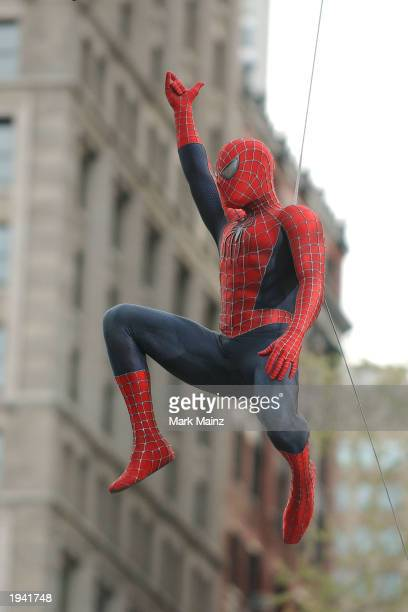 Actor Tobey Maguire's stunt double films a scene on the set of the upcoming movie 'The Amazing SpiderMan' near City Hall April 20 2003 in New York...
