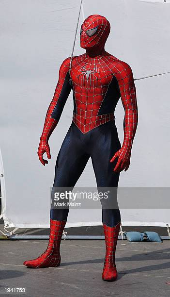 Actor Tobey Maguire's stunt double films a scene on the set of the upcoming movie The Amazing SpiderMan near City Hall April 20 2003 in New York City