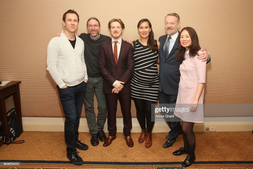 Actor Tobias Menzies, executive producer/co-showrunner David Kajganich, actors Adam Nagaitis, Nive Nielsen, Jared Harris and executive producer/co-showrunner Soo Hugh of the television show The Terror pose for a photo in the green room during the AMC portion of the 2018 Winter Television Critics Association Press Tour on January 13, 2018 in Pasadena, California.