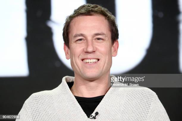 Actor Tobias Menzies of 'The Terror' speaks onstage during the AMC Networks portion of the 2018 Winter Television Critics Association Press Tour at...
