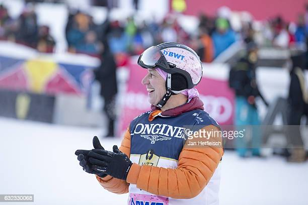 Actor Tobias Moratti reacts after his run of the KitzCharityTrophy on January 21 2017 in Kitzbuehel Austria