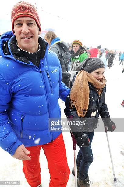 Actor Tobias Moretti and daughter Antonia Moretti attend the FIS Mens Downhill Worldcup race at the Streif race course on January 21 2012 in...