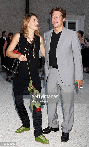 Actor Tobias Moretti and his wife Julia attend the celebration of the 90th jubilee of the Jedermann play on August 22 2010 in Salzburg Austria
